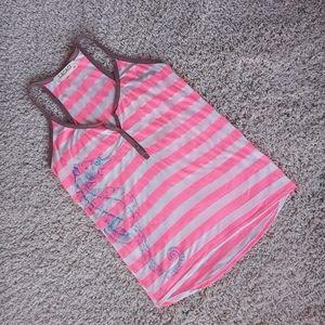 3/$20 Lagaci Neon Pink Stripe Seahorse Tank Top L